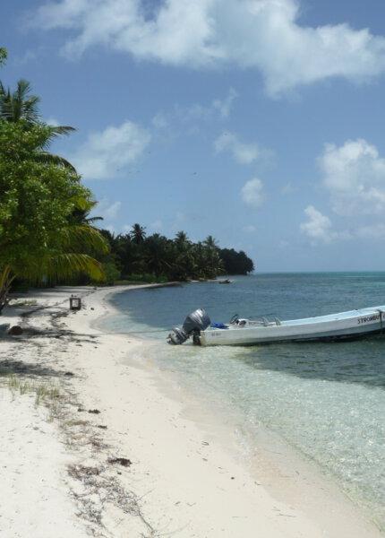 Het strand van Half Moon Caye in Belize