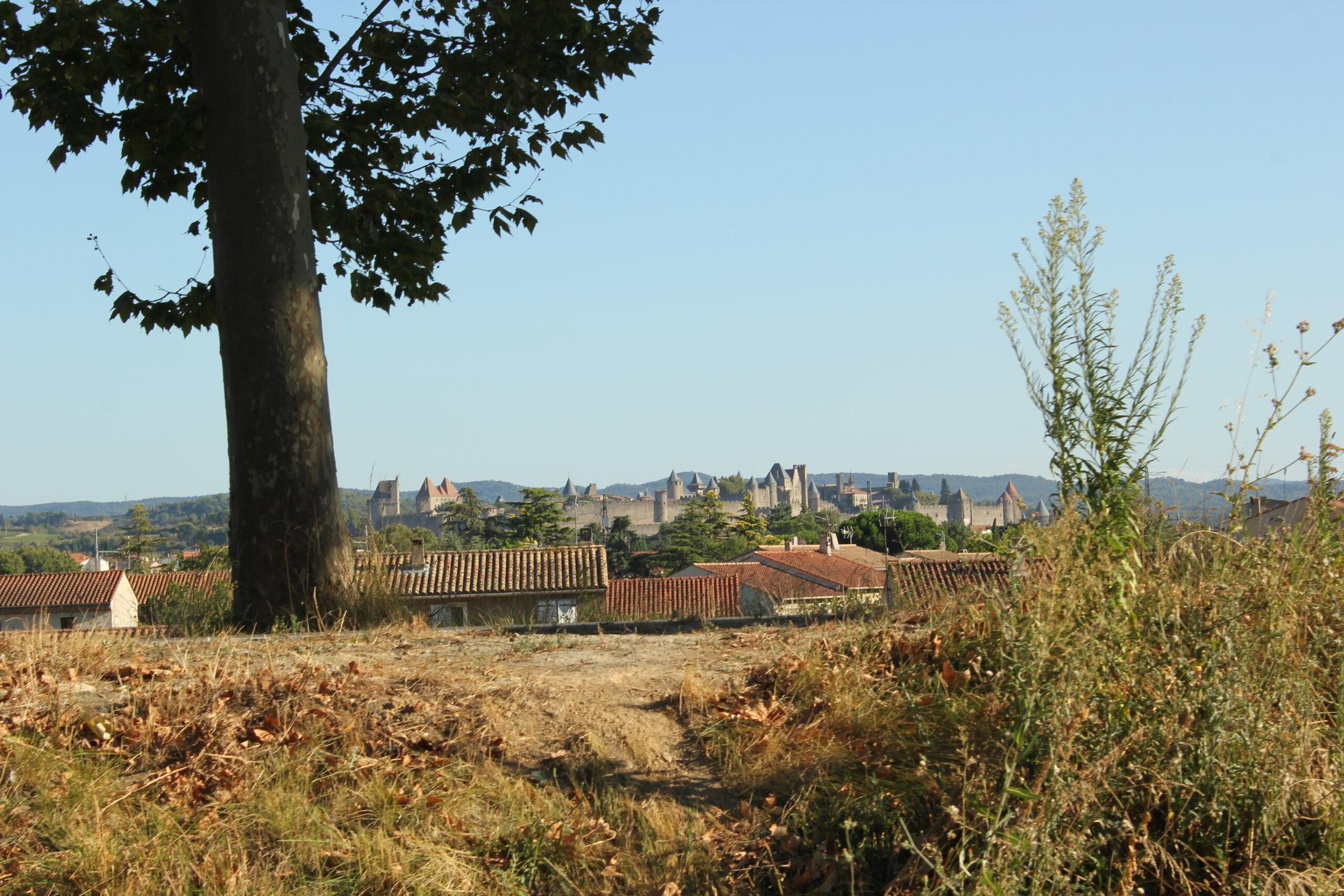 Uitzicht op de ommuurde vestingstad Carcassonne vanaf Canal du Midi