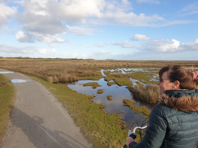 Tijdens een vakantie op Waddeneiland Schiermonnikoog Fietsen langs de slenken op Schiermonnikoog