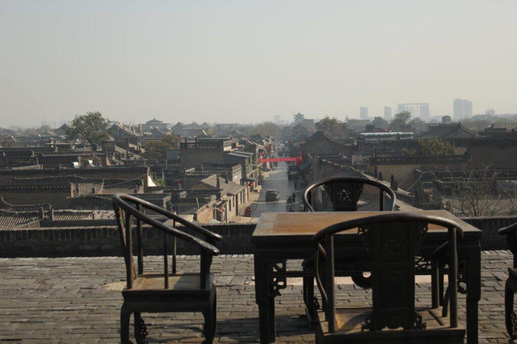 De ommuurde stad van Pingyao tijdens een rondreis China